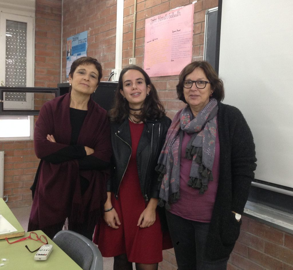 Teresa (in the center) with her teachers at Institut Pere Calders